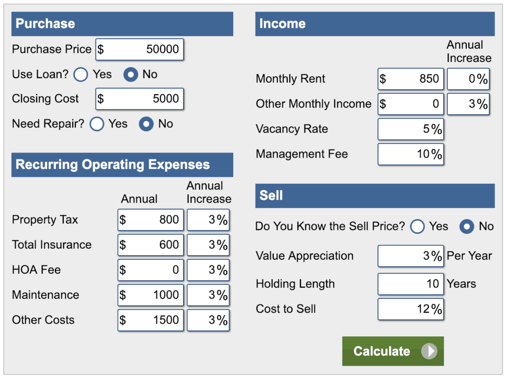 Cash Flow or Wealth - Calculations on a $50k House